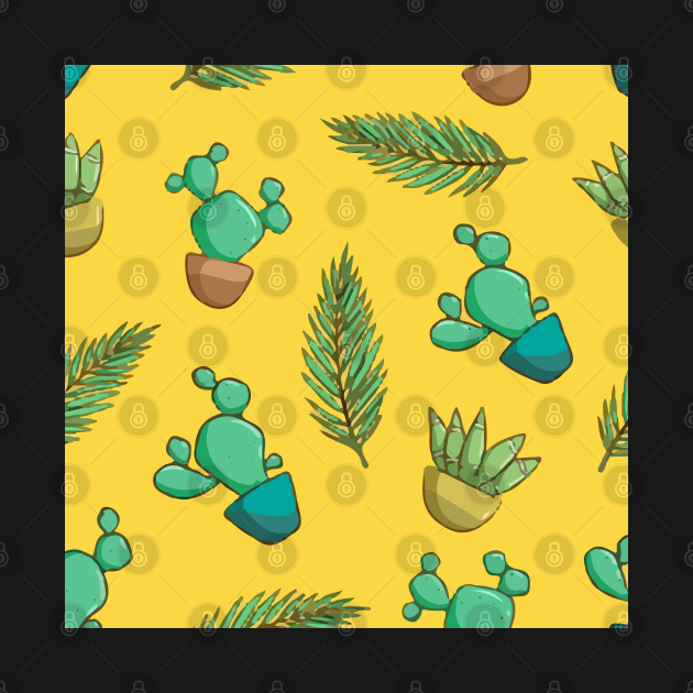 Decorative Seamless Pattern With Cacti Succulents