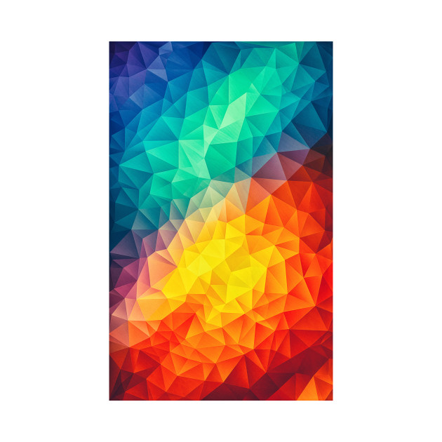 abstract polygon multi color cubism low poly triangle design