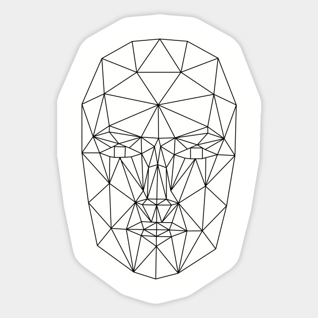 Wireframe Low Poly Female Face - Low Poly - Sticker | TeePublic