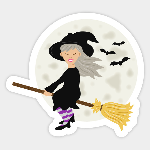 Cute Witch Girl Flying On A Broomstick Halloween Cartoon ...