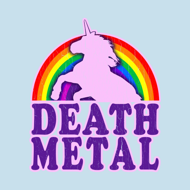 Funny Death Metal Unicorn Rainbow - Unicorns - T-Shirt | TeePublic