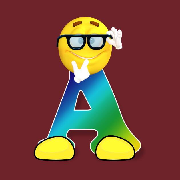 cdc96992 ... Letter A Alphabet Smiley Monogram Face Emoji Shirt for Men Women Kids