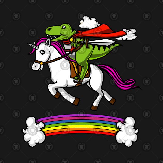 Funny T-Rex Dinosaur Riding Magical Unicorn Rainbow