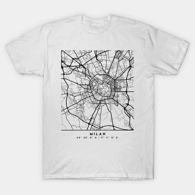 Map Of Italy Black And White.Milan Italy Black City Street Map Art