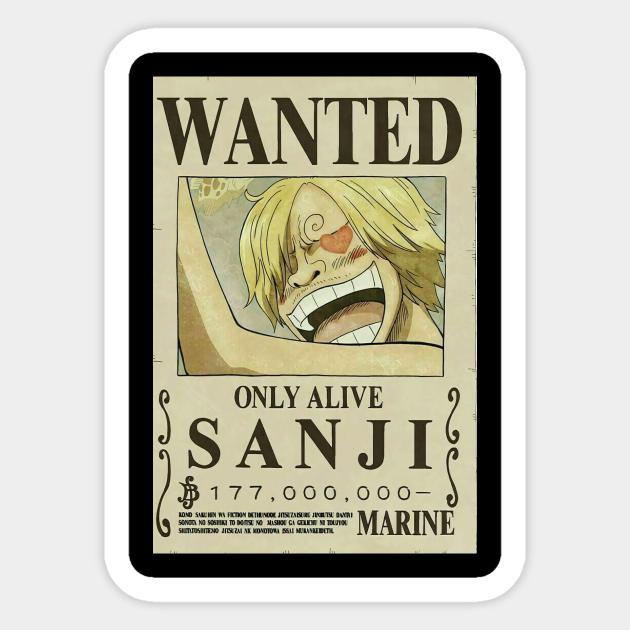 One Piece Sanji Wanted Poster One Piece Sticker Teepublic