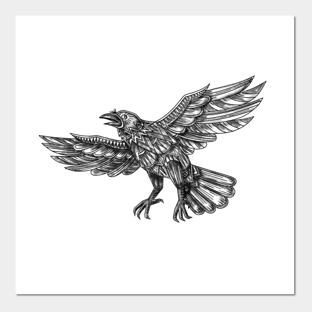 5a828356a Raven Flying Up Geometric Mandala Tattoo - Raven Flying Up Geometric ...