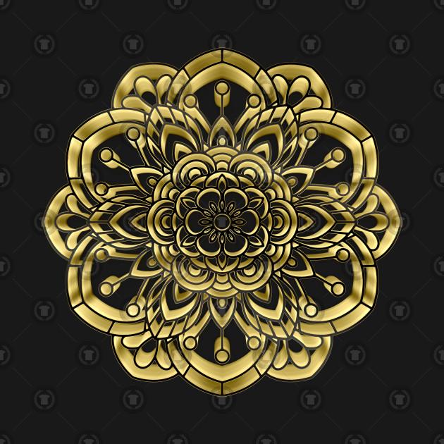 3D Gold Mandala Design #4 / Sacred Geometry Flower of Life Mandala