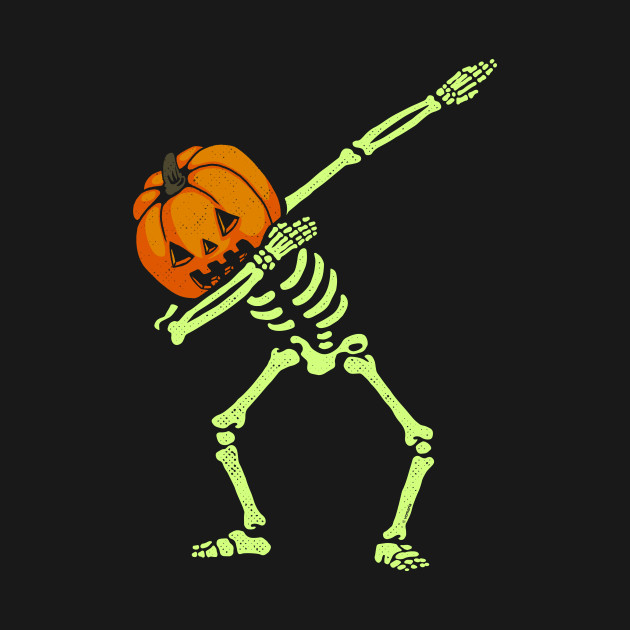Dabbing Skeleton Pumpkin Glow