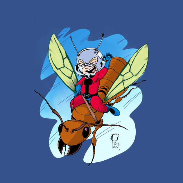 Chibi Ant-Man Riding a Flying Ant