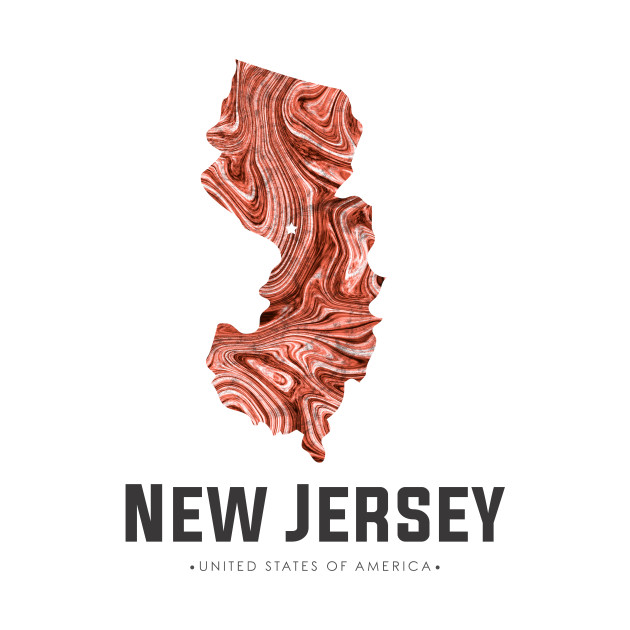 New Jersey state map abstract brown