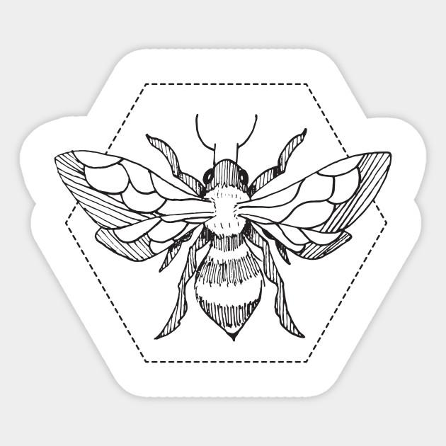 e41c4012 Pen & Ink Bee Tattoo - Bees - Sticker | TeePublic