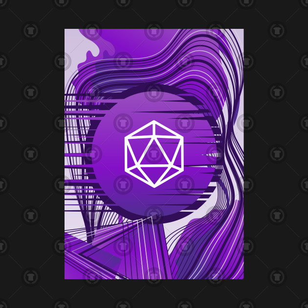 Purple Glitch Polyhedral D20 Dice Tabletop RPG