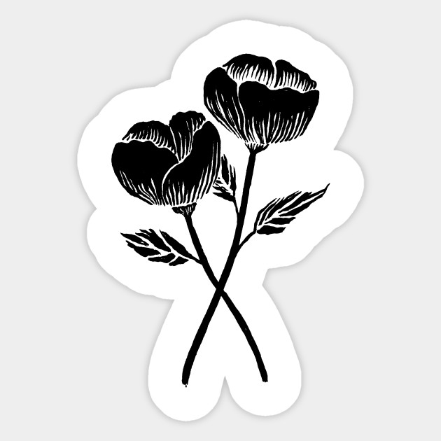 Flowering plants sticker design by ricardocarn a black japanese flower