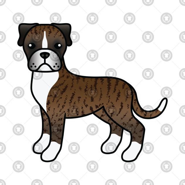 Brindle Boxer Dog Cute Cartoon Illustration Boxer Dog T Shirt