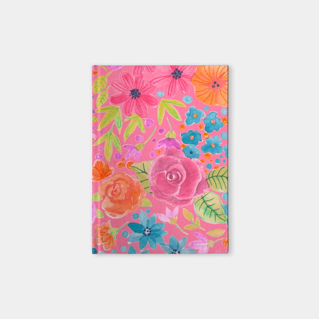 Floral watercolor pattern in pink