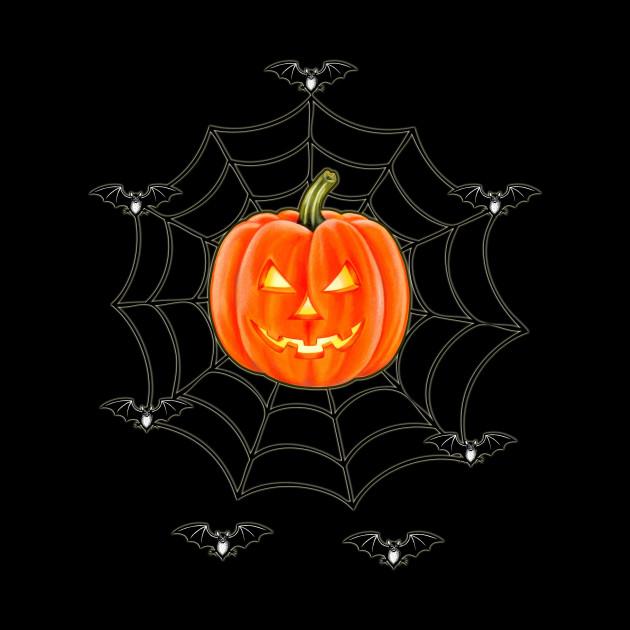 HALLOWEEN Jack O' Lantern caught in a Spiderweb