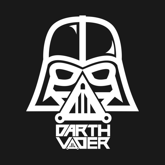 Darth vader white outline darthvader t shirt teepublic for Darth vader black and white