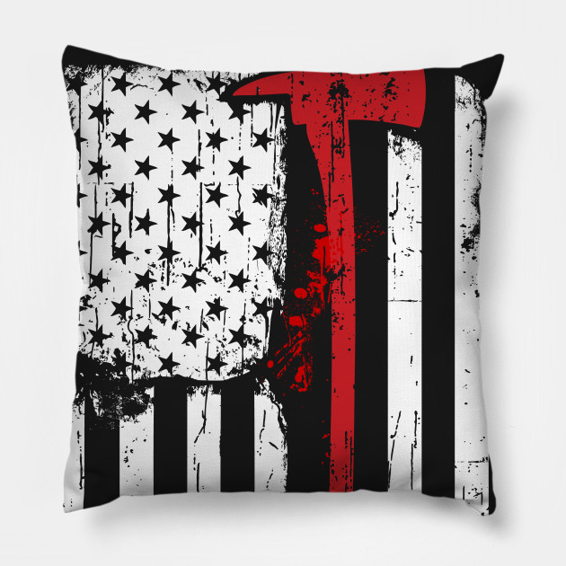 Unique Firefighter Red Line American Flag With Fireman Axe - Red Line  SR63