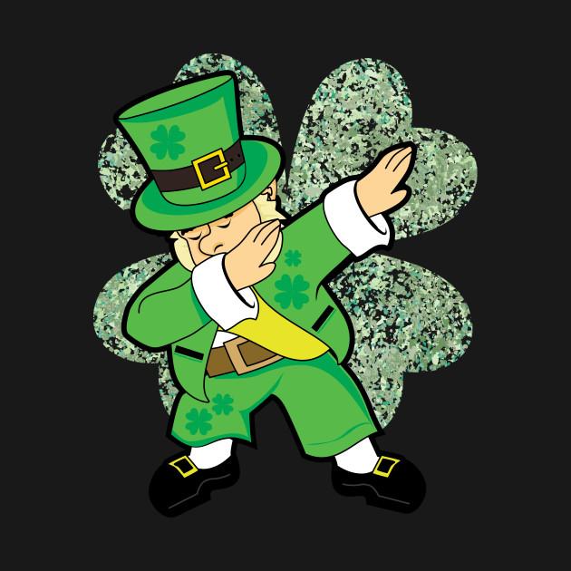 St Patricks Day Dabbing Leprechaun Clover Irish T-Shirt