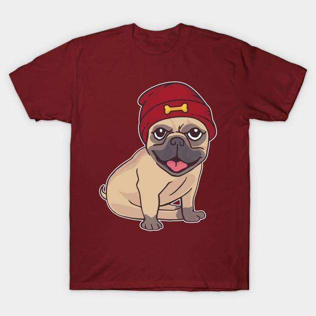 Beanie pug - Frenchie Art - T-Shirt  6dbc81cb347