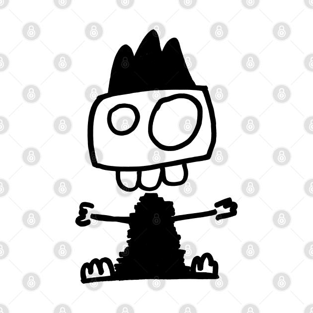 Cute monster - Mostrone dentone (black on white)
