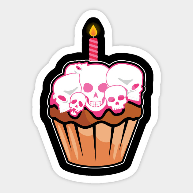 Funny Skull Cupcake Birthday Cake Sticker