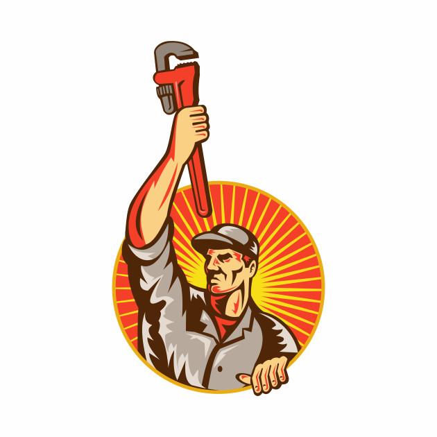 Plumber Raising Up Monkey Wrench Circle Retro