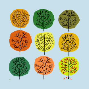 Autumn Trees In Tidy Rows t-shirts