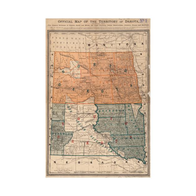 Vintage Map of North and South Dakota (1886) - Dakotas Map - T-Shirt ...