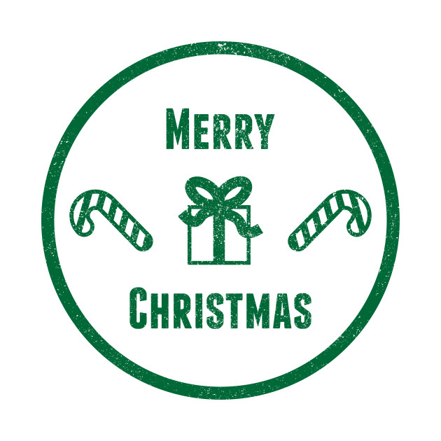 Merry Christmas Badge - Green