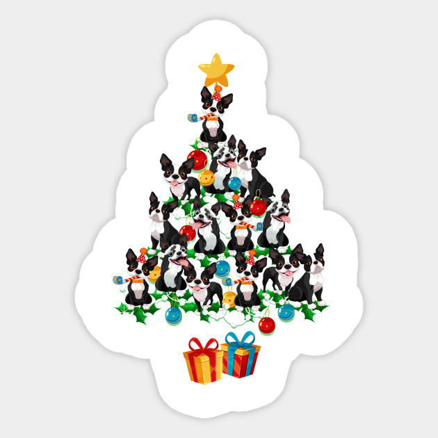 Christmas Tree Illustration.Boston Terrier Dog Christmas Tree Funny Dog Lover Xmas Gifts