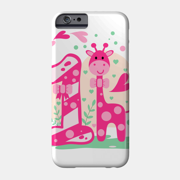 First 1 Birthday Toddler Girl Daughter Niece Giraffe Cute Sweet One Year Old Mug Sticker Gift Idea Phone Case
