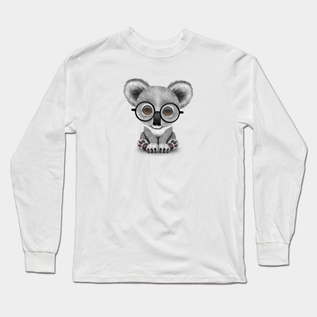 8f6be3927ce Cute Baby Koala Bear Cub Wearing Glasses - Cute Koala - Long Sleeve ...