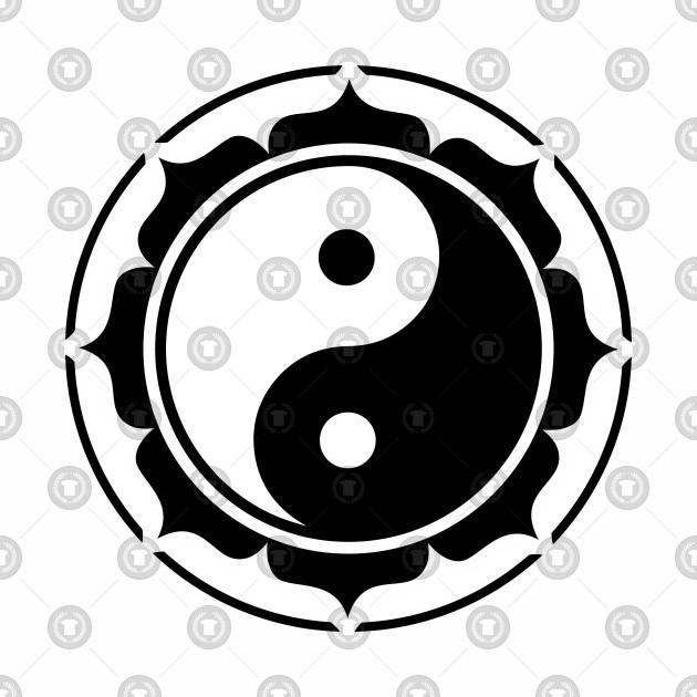 Yin Yang Lotus Flower Chinese Symbol Balance Yoga Yin Yang