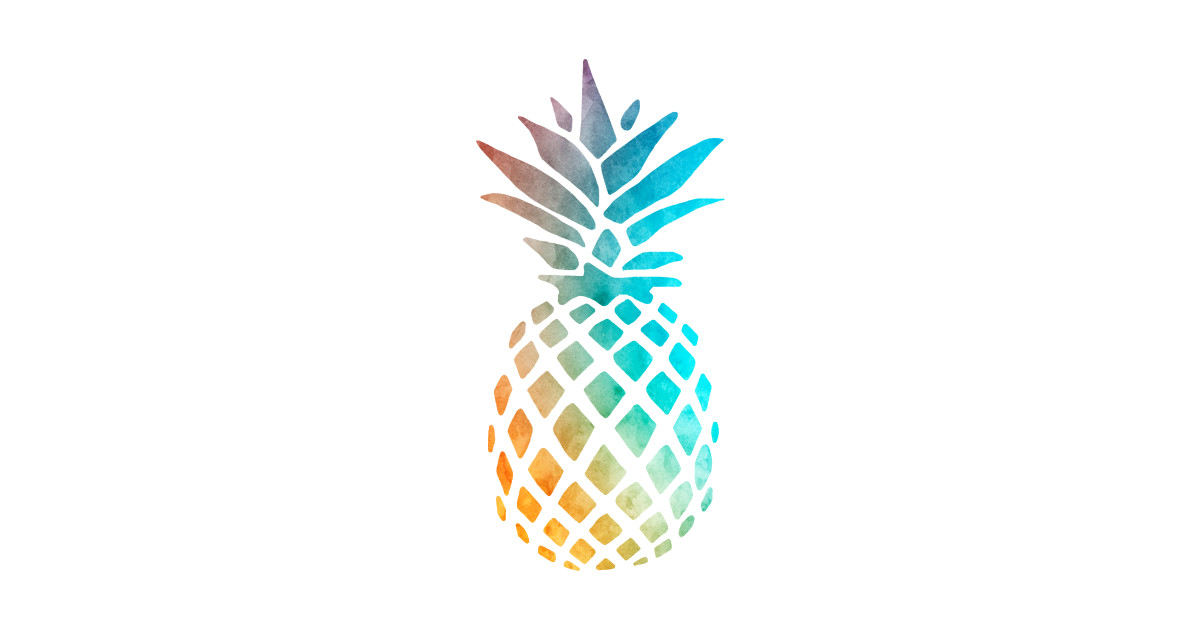 colorful watercolor pineapple - pineapple