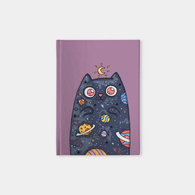 Cartoon cute cat with the universe inside