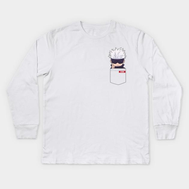 Anime Satoru Gojo Blindfolded Chibi Pocket Jujutsu Kaisen Kinder Long Sleeve T Shirt Teepublic De