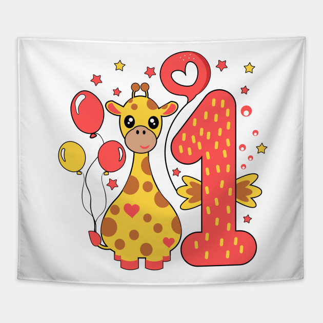 First 1 Birthday Toddler Girl Daughter Niece Giraffe Cute Sweet One Year Old Mug Sticker Gift Idea Tapestry
