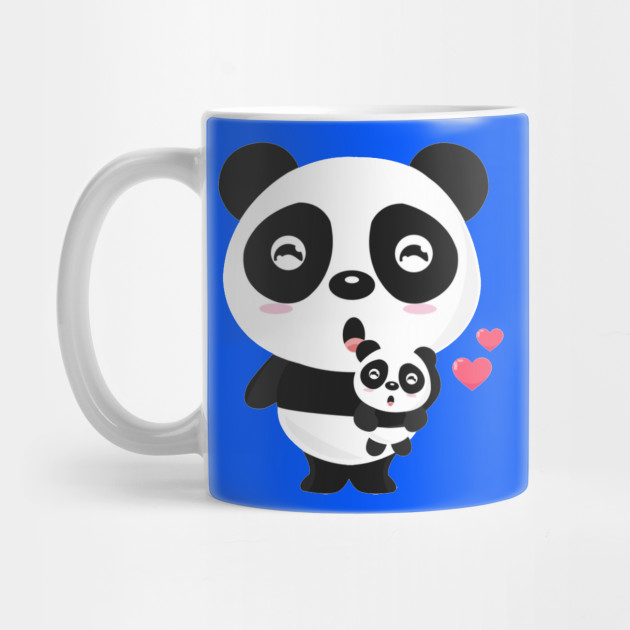 Cute animal for Mother's Day. Pandas mom and baby holding. Mug