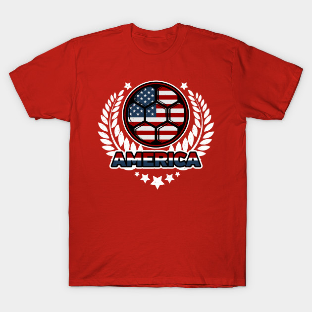 Distressed Flag of America Soccer Ball Victory Laurel Wreath T-Shirt