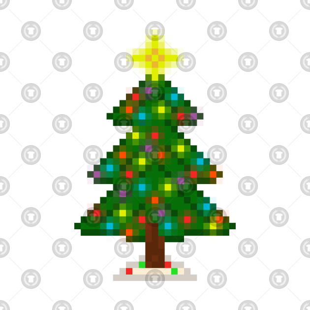 ... Pixel Christmas Tree with Glowing Lights (White)