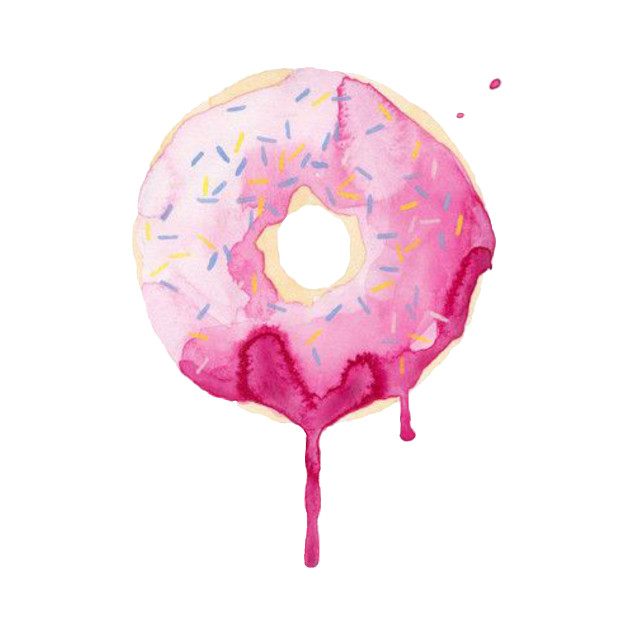 Cute Big Pink Donut Flowing watercolor design art