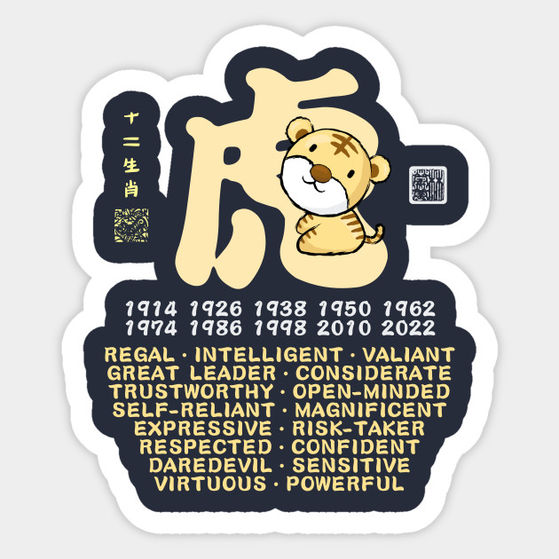 CUTE TIGER CHINESE ZODIAC ANIMAL PERSONALITY TRAIT Sticker