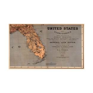 Vintage Map of Florida (1878) t-shirts