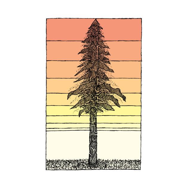 Coastal Redwood Sunset Sketch