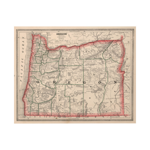 Vintage Oregon Map.Vintage Map Of Oregon 1883 Oregon Map T Shirt Teepublic