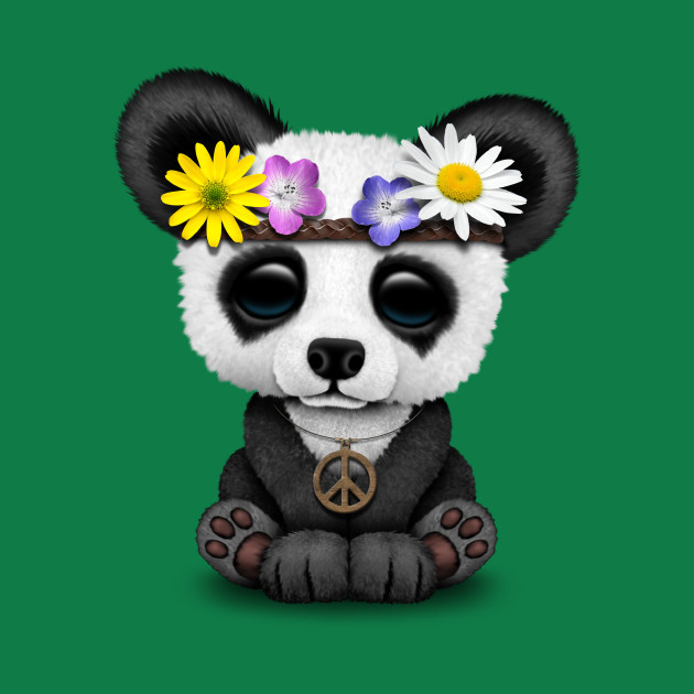 Cute Baby Panda Hippie