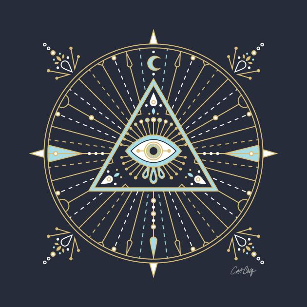 Blue & Gold Evil Eye Mandala