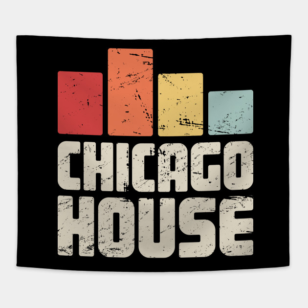 Retro Vintage Chicago House Electronic Music Gift Tapestry