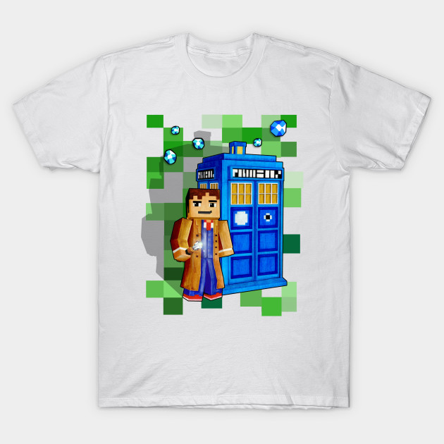 8bit 10th Doctor With time traveler box T-Shirt-TOZ